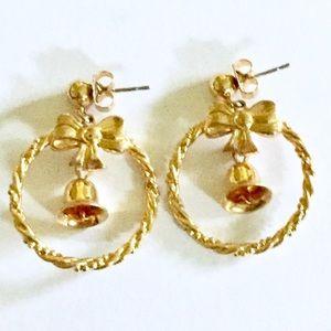 Christmas Gold Bell Wreath Earrings Dangle